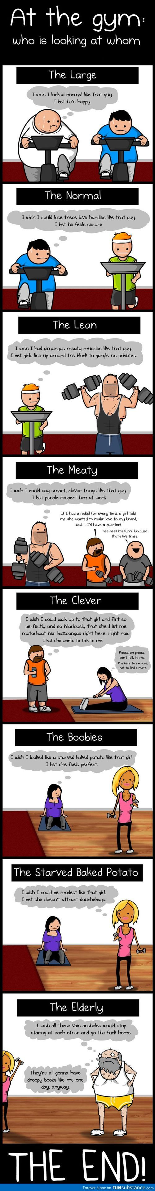 Totally the gym. That old guy is totally Chuck, too. Don't you agree, Rec Center friends!?
