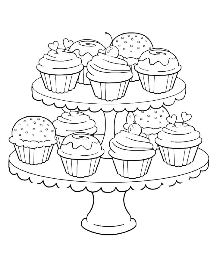 many sweet and tasty cupcakes coloring page for kids - Cupcakes Coloring Pages