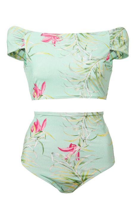 Adriana Degreas Tropical Floral Print Retro Bikini by Adriana Degreas for Preorder on Moda Operandi