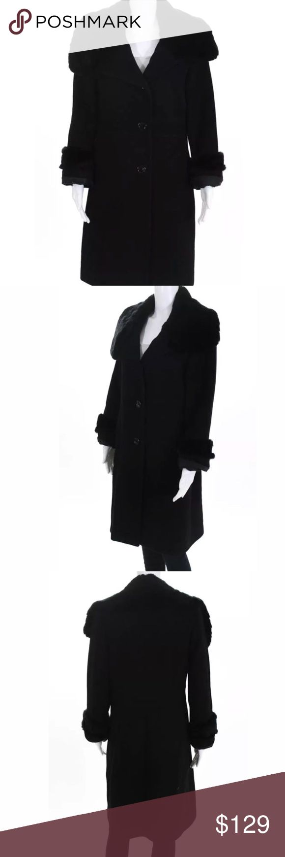 BLack wool Rabbit fur coat size 10 BLack wool Rabbit fur coat size 10 Jackets & Coats Utility Jackets