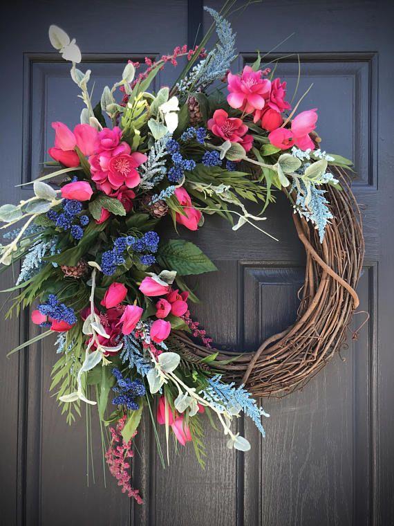 Pink Blue Wreaths Spring Wreaths Spring Door Decor Pink Spring