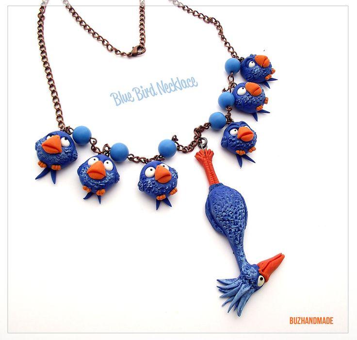 Blue Bird Pixar Necklace - Polymer Clay FANART by *buzhandmade on deviantART