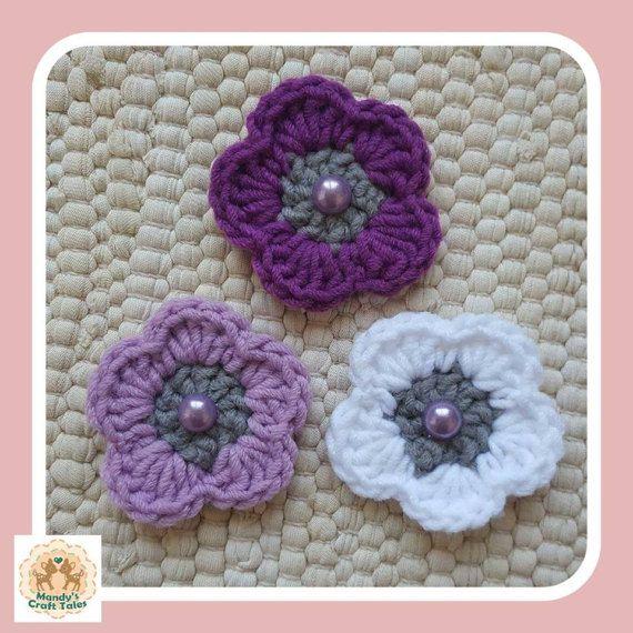 Purple Crochet Flower Embellishments Crochet by MandysCraftTales