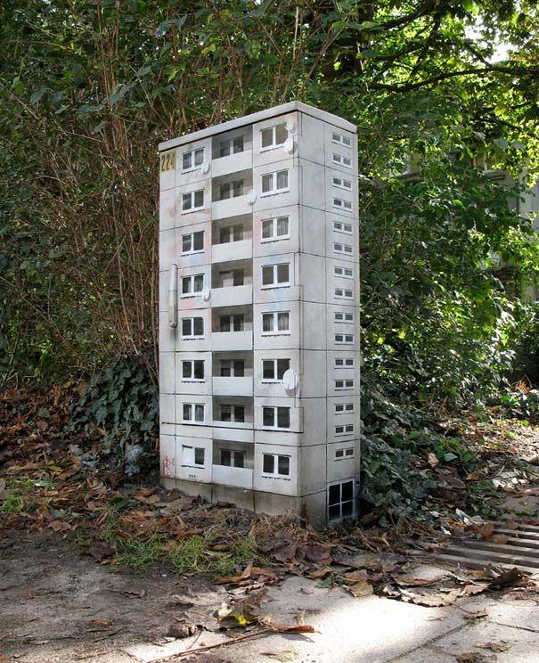 Miniature Buildings: Street Art by EVOL | Bored Panda