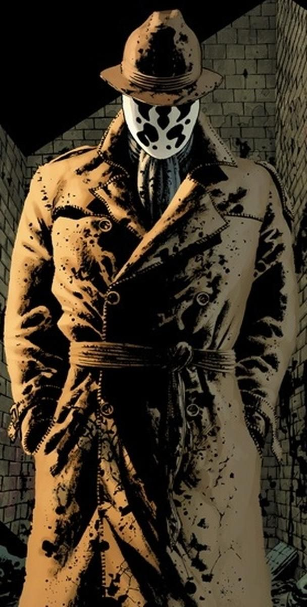 Rorschach Rorschach é um detetive e vigilante violento, que foi destaque na série Watchmen de 1986. Ele usa uma máscara que muda constantemente, inspirado pelo teste da mancha de tinta de Rorschach. O personagem não possui a mínima tolerância para desvios morais ou criminalidade.