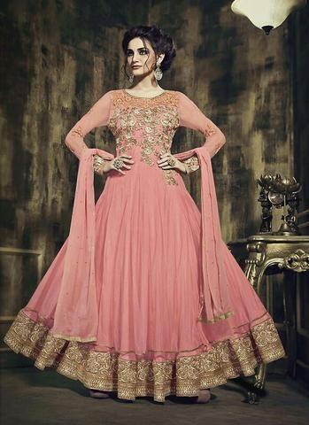 Pink Georgette & Netted Buy Salwar Kameez Online ,Indian Dresses - 1
