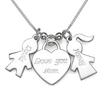 Sterling Silver  Love You Mom Necklace with Personalised Names - N110