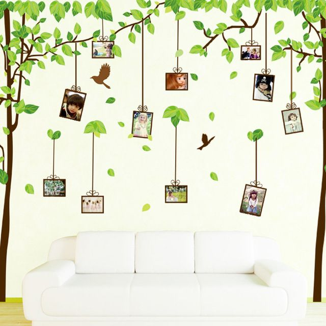 2015 Promotion Vinilos Paredes Wall Stickers For Kids Rooms Photo Frame Tree Leaf Art Vinyl Wall Sticker Decal Baby Home Decor