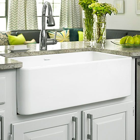 Small Apron Front Sink : Apron-Front Sink Prep Area A small but deep farmhouse sink is a great ...