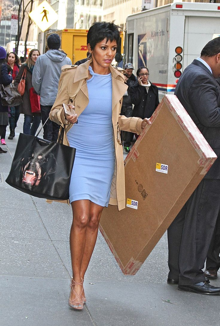 Today show host Tamron Hall spotted leaving Rockefeller Center in New York City.