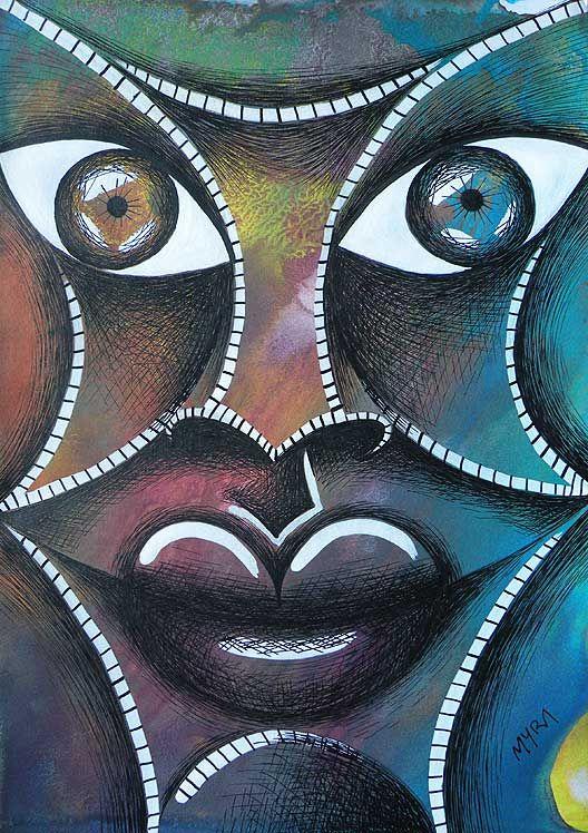 ROSTRO  tempera y tinta. Conéctate con tus emociones y sentimientos a través del arte. | Connect with your emotions and feelings through art. #dibujo #arte #art