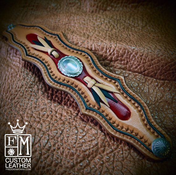 Leather cuff wristband Native Western style hand tooled with kangaroo lace and Conchos handmade for YOU in NYC by Freddie Matara