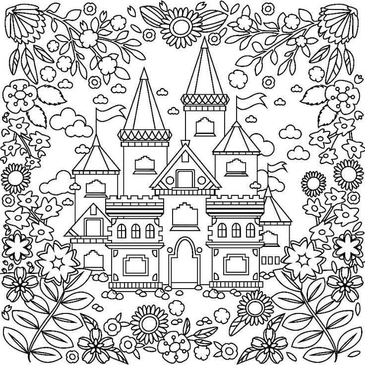 Castle Coloring Pages: 1101 Best Colorir Casas E Etc Images On Pinterest