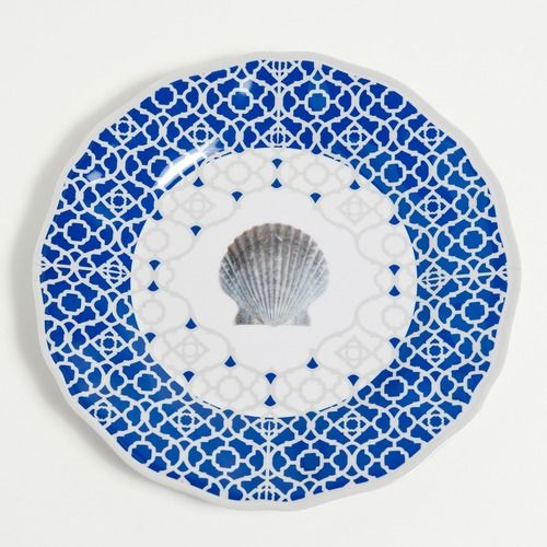 Blue Moroccan Shell Dinner Plates - Set of 4