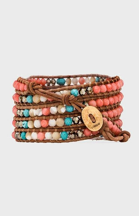 CHAN LUU Wrap Bracelet in Salmon Mix & Beige
