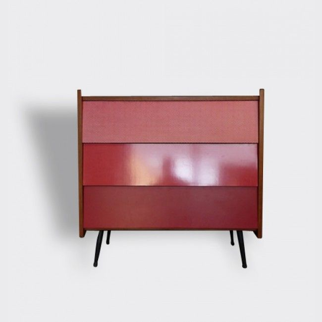 commode vintage rouge