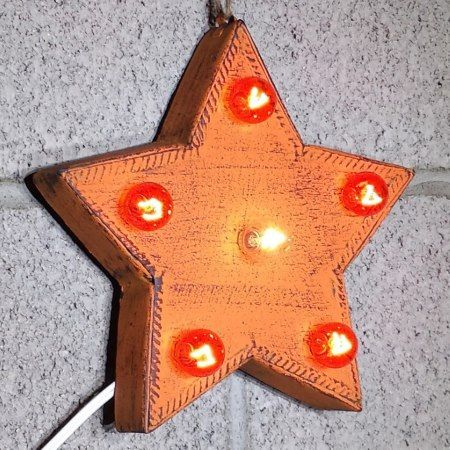 Custom 9' Orange Star Marquee Sign w/ Orange Bulbs - tap, personalize, buy right now!