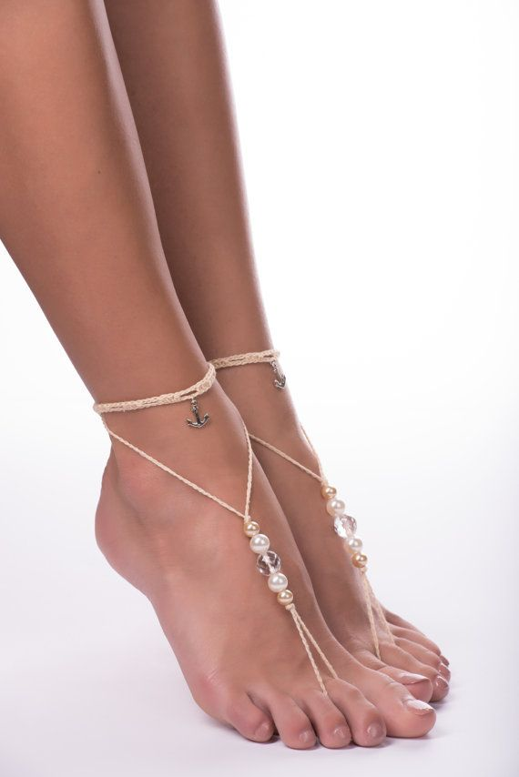 Barefoot sandals/bridal accessory/light beige by JuliannaStyle