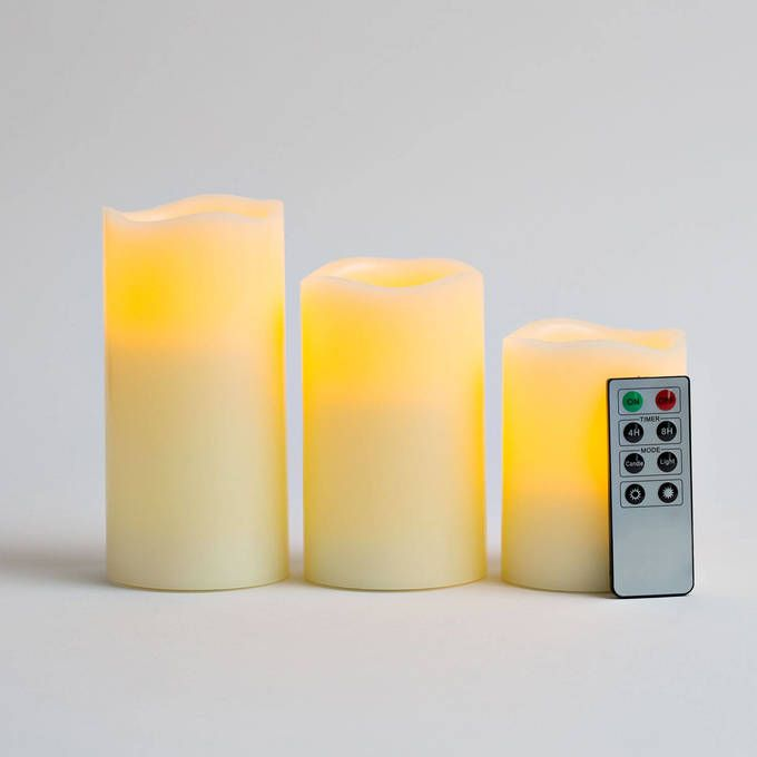 Lights.com | Lit Decor | Flameless Candles | Pillars | Ivory Wax Melted Edge Flameless Candles with Remote, Set of 3