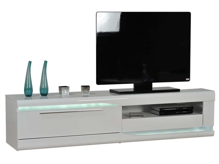 banc tv finition laqu ovio colors blanc laqu conforama - Valia Double Meuble Tv Blanc Finition Laquee