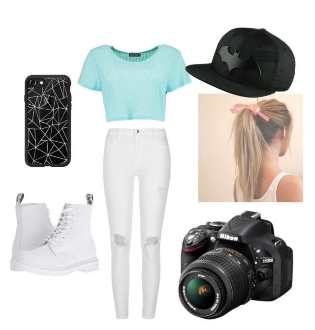 """Untitled #21"" by almendratonta ❤ liked on Polyvore featuring River Island, Boohoo, Dr. Martens, Casetify and Nikon"