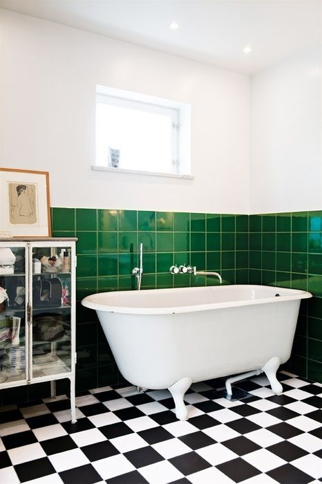 black and white chequerboard floor bathroom - Google Search