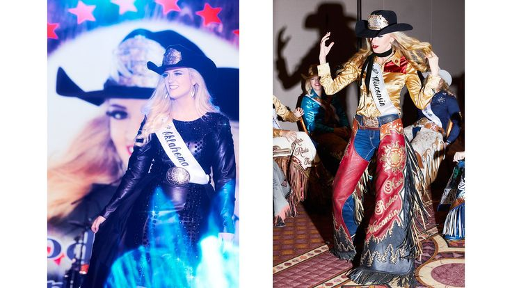 From left: Miss Rodeo Oklahoma, Sydney Spencer, on stage at Miss Rodeo America's annual fashion show; Miss Rodeo Wisconsin, Beth Kujala, at the horsemanship interviews and fashion show rehearsals.
