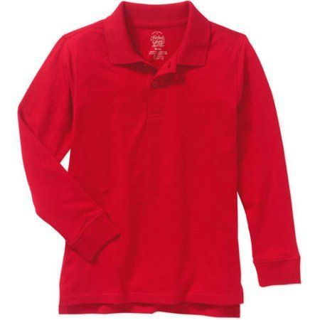 Faded Glory Boys' Cotton Long Sleeve Solid Polo, Red