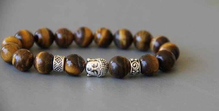 bracelet bouddhiste OEIL DE TIGRE 10 mm QUALITÉ supérieure : Bijoux pour hommes par made-with-love-in-aiacciu