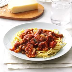 Southern Barbecue Spaghetti Sauce Recipe -I revamped our favorite sloppy joe recipe into this thick spaghetti sauce that simmers in the slow cooker. The flavor is jazzy enough to be interesting to adults, yet mild enough for the kids to enjoy. —Rhonda Melanson, Sarnia, Ontario