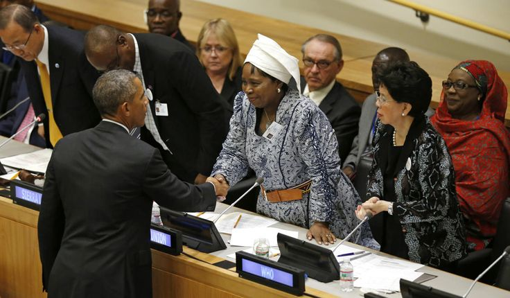 U.S. President Barack Obama shakes hands with Chairperson of the African Union Commission Nkosazana Dlamini Zuma after speaking at the United Nations meeting on the Ebola epidemic in New York September 25, 2014. Also seen is Director-General of World Health Organization Margaret Chan (front, R). (REUTERS/Kevin Lamarque)