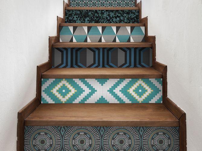 #escalier #déco #motif #bleu