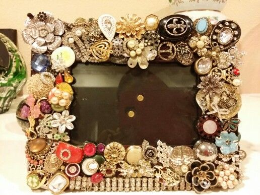 Another frame I made out of repurposed vintage jewelry