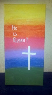 My 2 1/2 year old and I made this together for Easter- canvas with acrylic paint. Used stickers to mask the letters and tape for the cross.