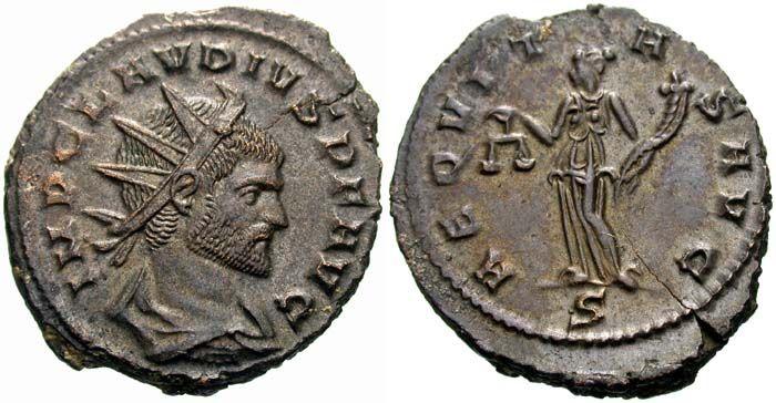 """Marco Aurelio Claudio Gótico (213 -  270) gobernó el Imperio romano entre los años 268 y 270 / Campañas contra los godos (268-269): esta victoria, una de las más importantes de las legiones romanas, le hizo ganar el apelativo de """"Gótico"""", que es como se le conoce hasta nuestros días. Fue divinizado poco después de morir."""