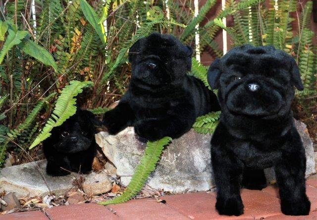 Realistic Pug Stuffed Animal, Bocchetta Plush Toys Pugs Stuffed Dog Toys Black Realistic Plush Dolls Cute Plushies Plush Animals Dog Toys Soft Toy Animals