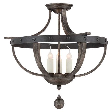 Bring a touch of rustic French country inspiration to your foyer or dining room with this eye-catching semi-flush mount, featuring rivet details and a banded...