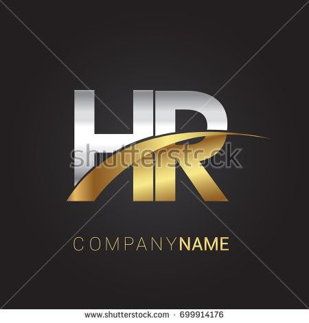 initial letter HR logotype company name colored gold and silver swoosh design. isolated on black background.