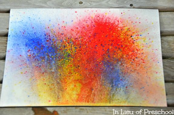 Sift and Spray Paint Art for Kids - In Lieu of Preschool