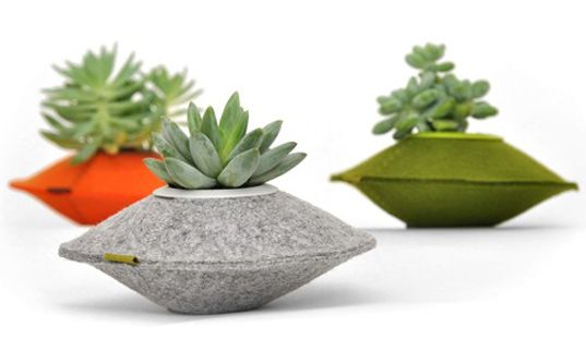 Flip & Tumble felt pod planters. Made from 100% recycled materials- cool alternative to plastic containers.