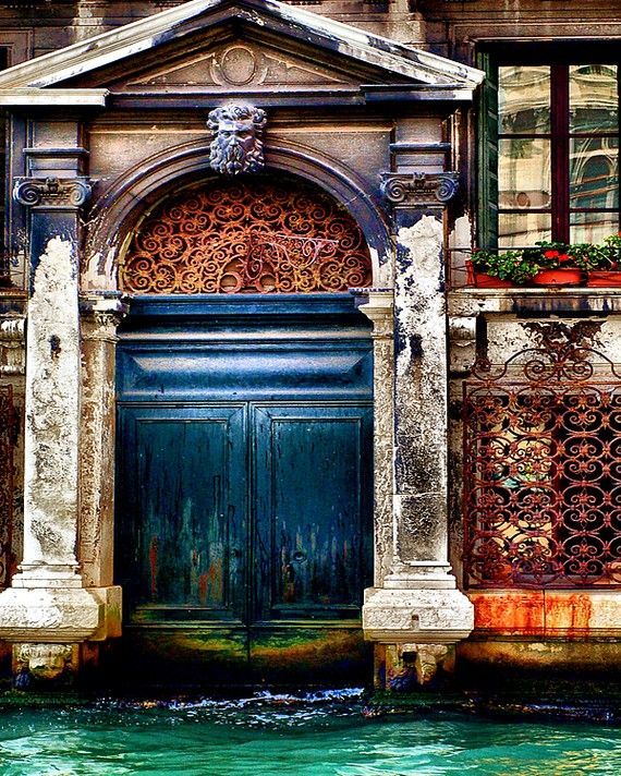 Venetian home with a beautiful indigo blue door along Grand Canal, Venice, Italy by Tracey Capone