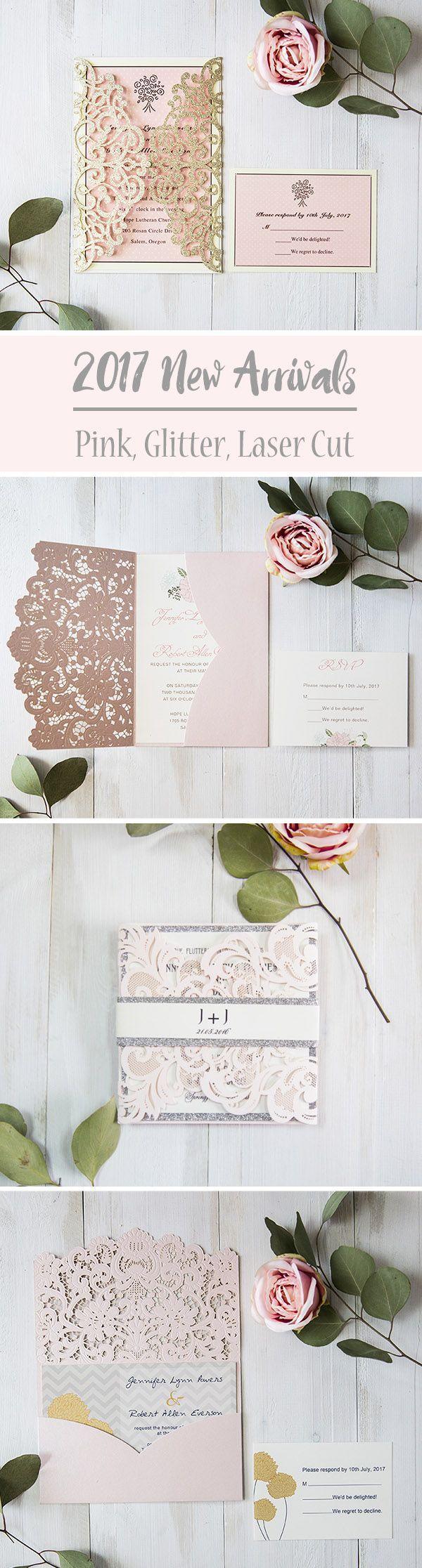 summer wedding invitation wording%0A romantic and elegant pink laser cut wedding invitations