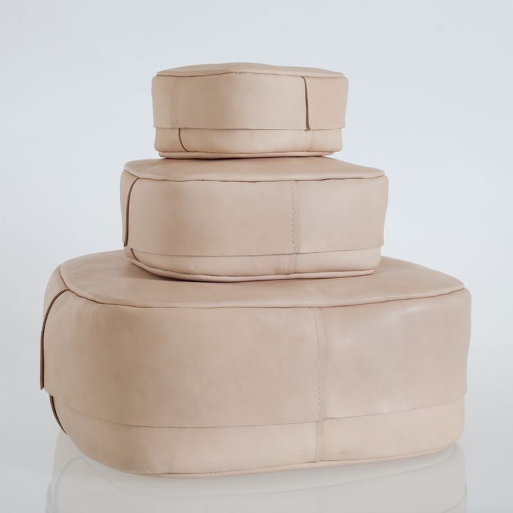 Vakka. Prototype. Set of 3 nesting boxes in leather, designed together with Katriina Nuutinen.