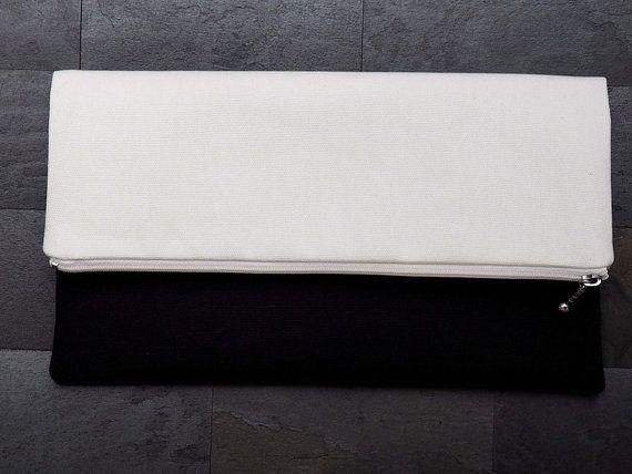 Black and white canvas foldover clutch, zipper clutch, zippered clutch, clutch purse, clutch bag, summer clutch, de almeida designs