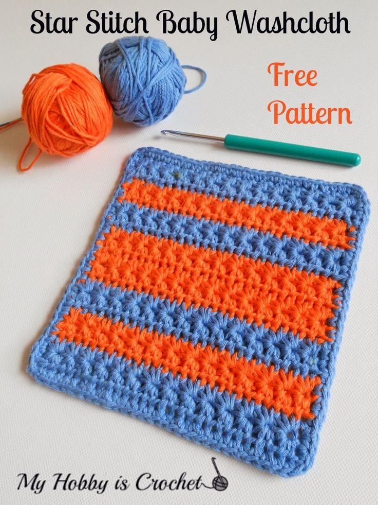 Star Stitch Baby Washcloth  Free Crochet Pattern on myhobbyiscrochet.com   #freecrochetpattern #myhobbyiscrochet