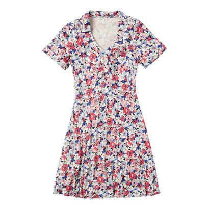 Spring Blossom Jersey Dress with Collar