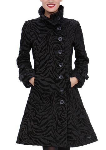 DESIGUAL Black Indiana CoatFashion, Clothing, Asymmetrical Buttons, Black Zebras, Buttons Jackets, Winter Coats, Women Coats, Desigual Indiana, Desigual Coats