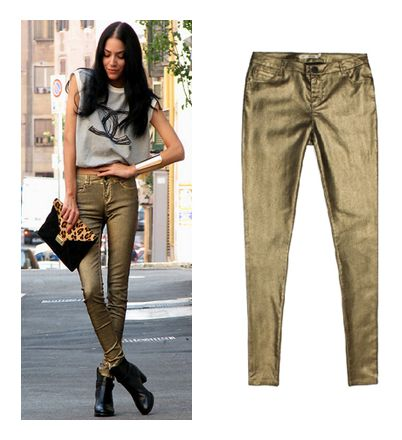 Womans Mid-Waist Shiny Gold Coating Pants only 29.99USD