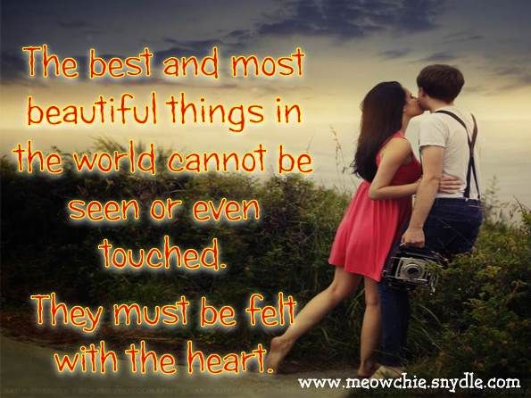 Beautiful Love Quotes For Him: The Best And Most Beautiful Things In The World Cannot Be