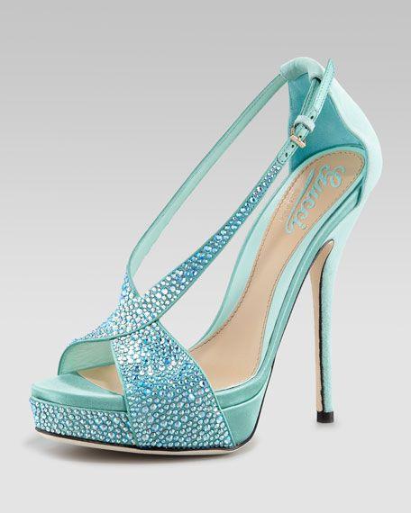 Gucci Sofia Bejeweled Platform Pump | Fuschia and turquoise wedding | Pink and aqua wedding | #EndoraJewellery - Custom wedding jewellery for the bride, bridesmaids and flower girls.